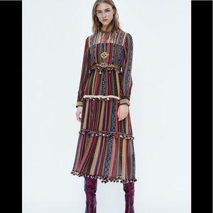 Zara blogger fav long stripe pompom bohemian dress
